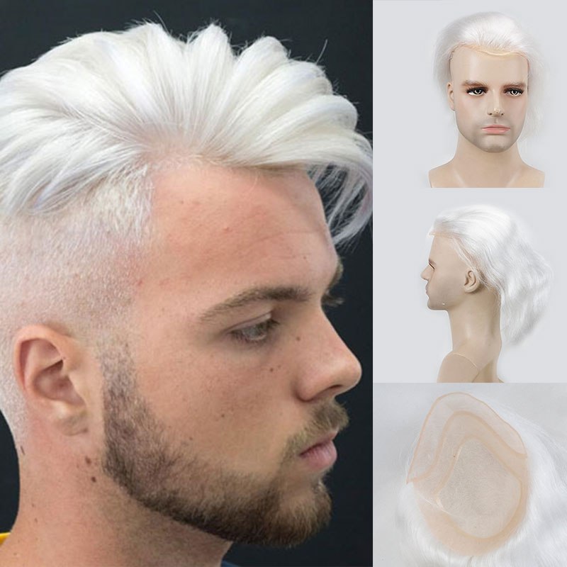 VERSALITE Human Hair Men Hairpiece Toupee French Lace Replacement For Men Wig Thin Skin European Remy Hair Pure White Color 10x8