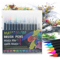 12PCS Watercolor Brush Marker Pen Art Felt Painter Calligraphy School Art Supplies Lettering Colouring Brush Pens Sets