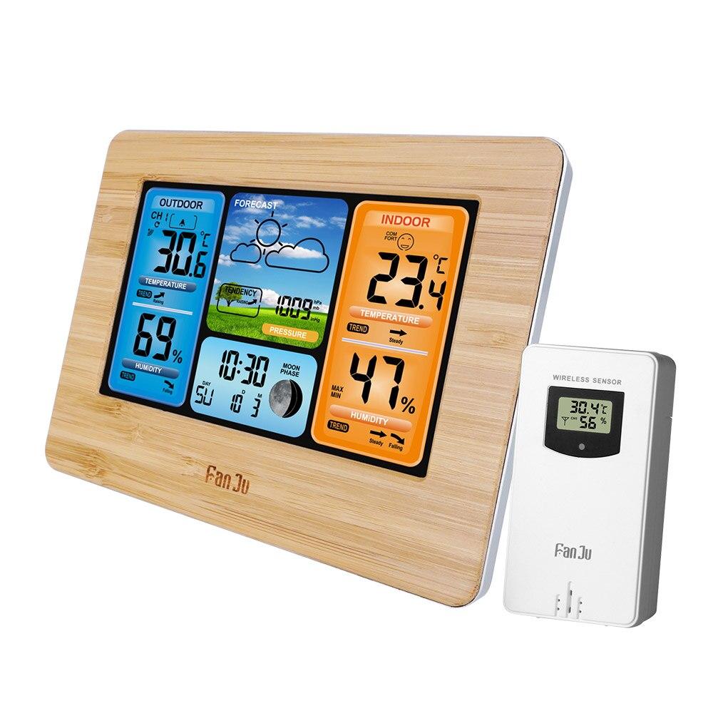 Estação meteorológica digital relógio interior ao ar livre previsão do tempo barômetro termômetro higrômetro com sensor ao ar livre sem fio