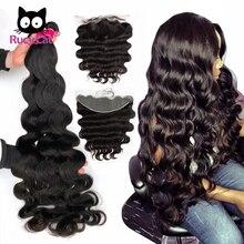 Бразильские пряди волнистых волос RucyCat Remy с фронтальной волной 13x4 фронтальная предварительно выщипанная линия волос с детскими волосами