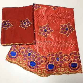 Red African Bazin Riche Getzner Fabric Hot Sale Guinea Brocade Fabric For Women Most Popular Frenche Lace Fabrics 5+2Yards/Lot
