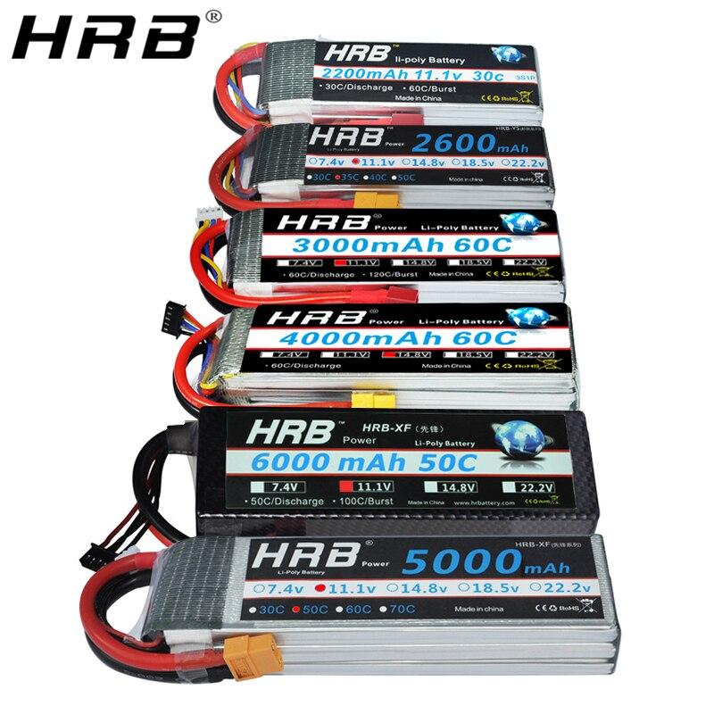 Batería HRB Lipo 11,1 V 1500mah 1800 2200mah 2600mah 5000mah 6000mah 14,8 V 3300mah 4000mah 7,4 mah 22,2 mah V 2S 3S 4S 6S V T XT60 piezas de control remoto