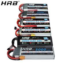 Аккумулятор HRB Lipo 11,1 V 1500mah 1800 2200mah 2600mah 5000mah 6000mah 14,8 V 3300mah 4000mah 7,4 V 2S 3S 4S 6S 22,2 V T XT60 RC запчасти