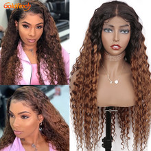 1b/30 Water Wave Ombre Human Hair Wig Closure Honey Blonde Human Hair Wigs Remy Malaysian WaterWave Ombre Wigs 30 150% Density