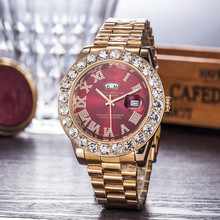 купить Big Diamond Luxury Fashion Watch men top brand waterproof steel wristwatch fitness day-date watch montre femme gold watch 2019 дешево