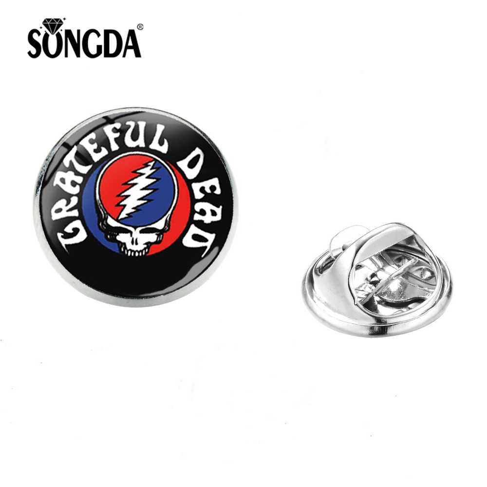 Songda Fashion Grateful Dead Band Glass Photo Bulat Bros Kepribadian Tengkorak Logam Pin Lencana Gothic Xmas Hadiah untuk Pecinta Musik