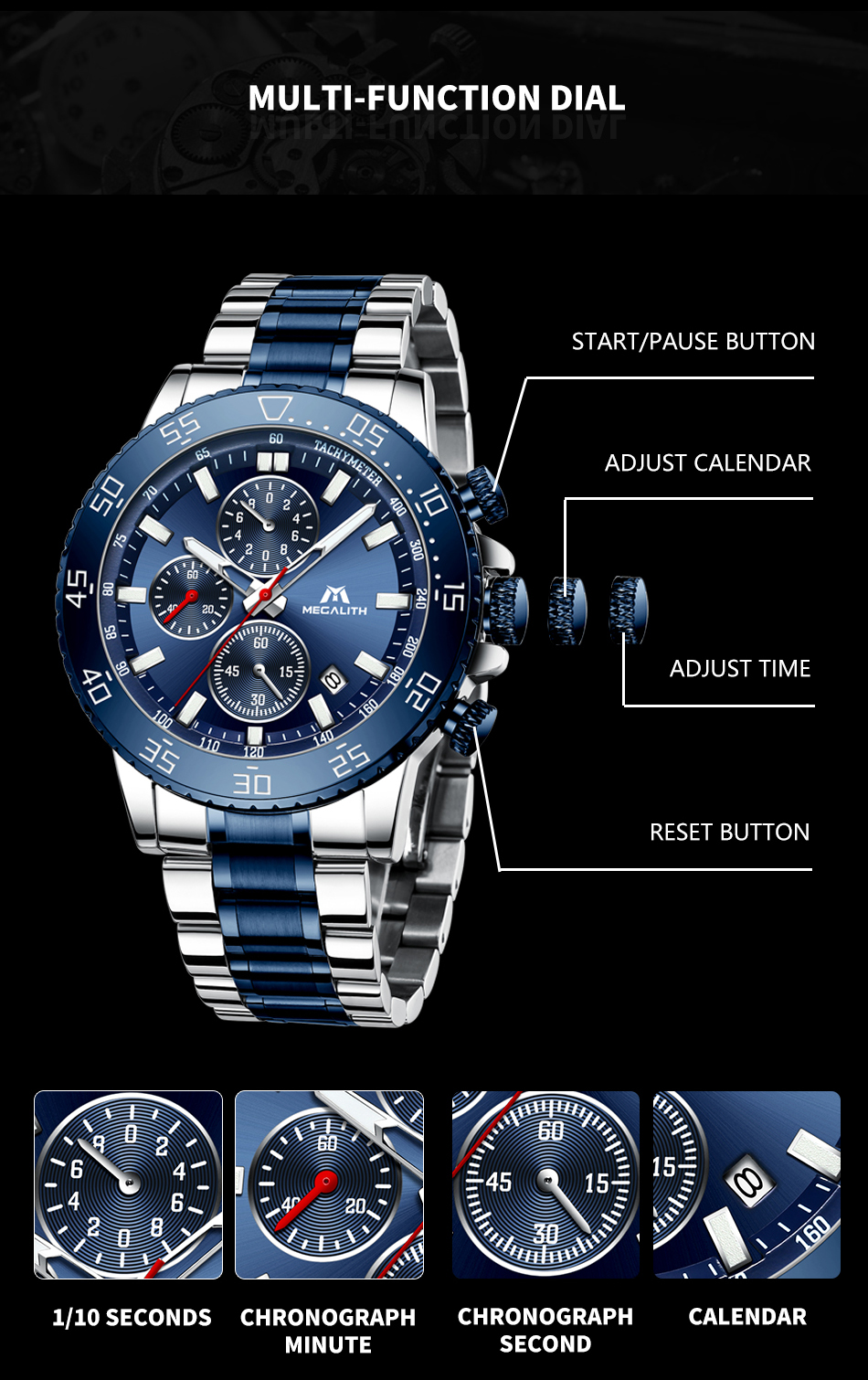 IsMyStore: MEGALITH Watches Mens Waterproof Analogue Clock Stainless Steel Waterproof Luminous Watch Men Sports Relogio Masculino With Box