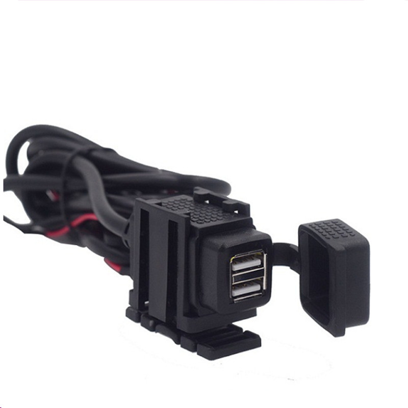 Двойной USB порт 12 в водонепроницаемый мотоцикл руль зарядное устройство адаптер питания Разъем для телефона gps MP4 DC 5 В 2.1A