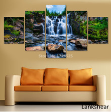 5 Pieces Beautiful Waterfall Modern Wall Art Painting Canvas Stone River Pictures For Living Room Home Decor Guadros Artwork