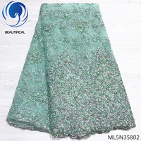 Beautifical african lace fabrics Top sale DIY beads net lace fabric with sequins 5yards make handcrafted beaded lace ML5N358