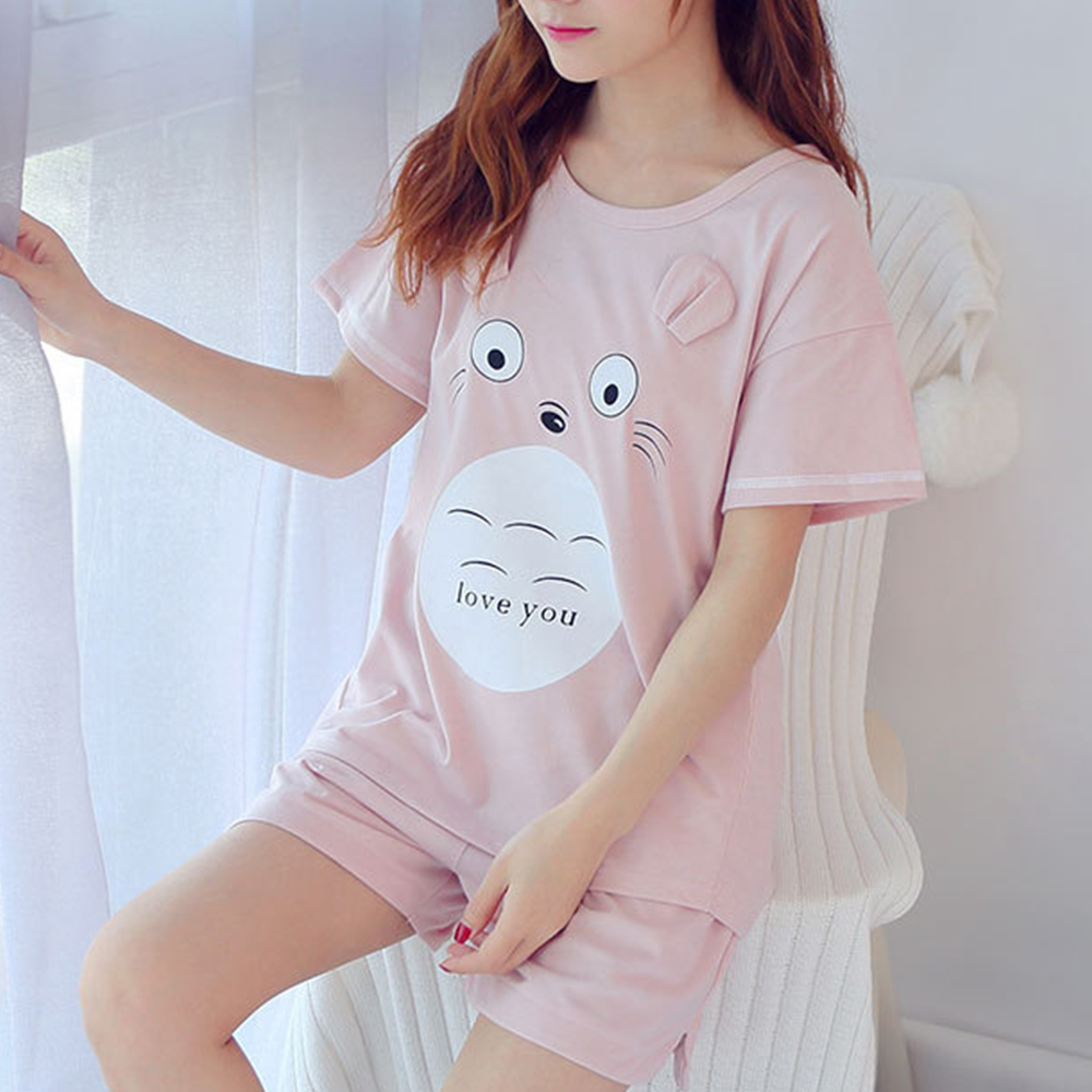 Cute Pajama Set Sleepwear Women Totoro Cotton Cartoon Summer Short Pyjamas Women Cotton Printing Pajamas For Womens Clothings