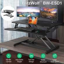BlitzWolf-mesa plegable de elevación ajustable para ordenador portátil, soporte de mesa de Elevación neumática de dos niveles, con almohadilla antideslizante, diseño curvo