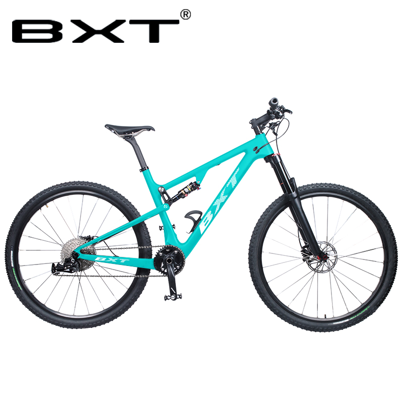 Full Suspension Mountain Bike 29er T800 Carbon Fiber 1×11speed Carbon Mtb XC Bicycle Disc Brakes Shock Absorber Travel 165*38mm