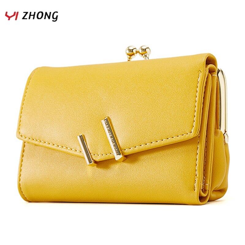 YIZHONG Trifold Small Wallet Women Soft Leather Purses Female Wallets Card Holder Zipper Coin Pocket Ladies Clutch Purse Cartera