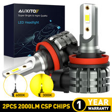 AUXITO 2X H11 Светодиодный противотуманный светильник H8 H9 H16 JP светодиодный CSP 6000 К Белый/3000 К золотой желтый 12 В 24 В DRL Автомобильные дневные ходовые автомобильные лампы