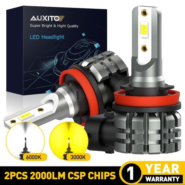 AUXITO 2X H11 żarówki LED światła przeciwmgielne H8 H9 H16 JP LED CSP 6000k biały/3000k złoty żółty 12V 24V DRL samochód do jazdy dziennej lampa samochodowa