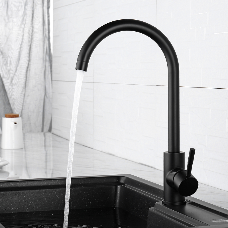 Robinet de cuisine noir 360 degrés faire pivoter le bec mitigeur évier robinet d'eau solide en acier inoxydable conception à Arc élevé