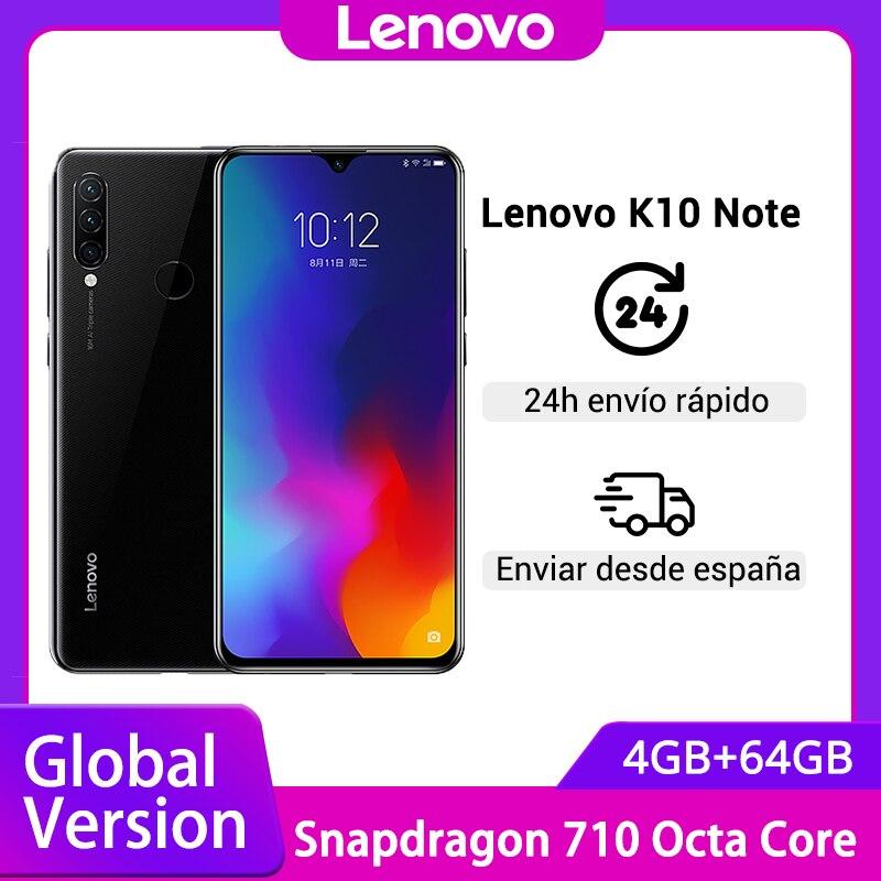 Versão global lenovo k10 nota (z6 lite) smartphone 6gb 128gb snapdragon 710 6.3 polegada triplo câmeras telefones celulares 4050mah