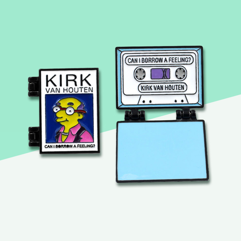 Foldable Flipping Enamel Pins!Simpson KIRK Cassette Brooches VAN HOUTAN,CAN I BORROW A FEELING Punk Badge Denim Backpack Jewelry
