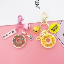 2019 Mini Cute Doughnut Key chain bag Charm Donut Key Chains Cute Key Rings Women Keyring Or Girls Gift Keychain Car Pendant new novelty mini bag charm flamingo faux fur key bag charm gift for children girls cute emoji pendant nl11