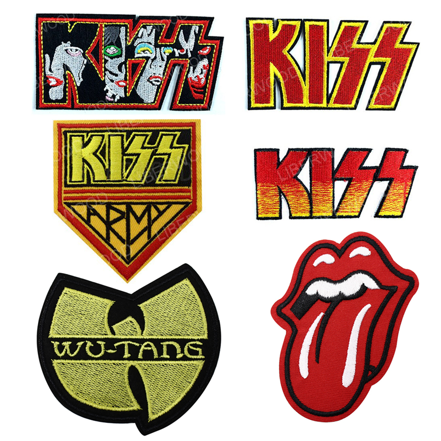TONGUE LIPS ROLLING Tongue The Rolling Music Songs Kiss Army WU-TANG WUTANG Punk Rock Roll Band Logo Patches badge Appliques image