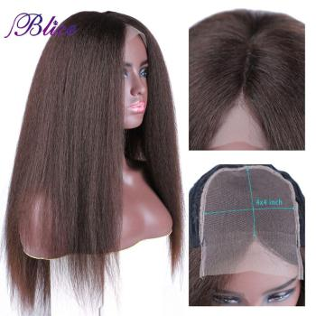 Blice Synthetic Hair Extensions Kinky Straight Wig 4*4 Lace Closure Wigs 130% Density Heat Resistant For Women - discount item  5% OFF Synthetic Hair