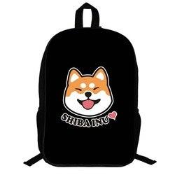 14.5 pouces sacs d'école mignon Shiba Inu sac à dos pour adolescents noir sac à dos garçons filles étudiants ordinateur portable voyage sac à dos cadeau