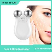 Máquina de levantamento de rosto pele aperto tonificação conjunto microcurrent massageador facial beleza antienvelhecimento remover rugas rosto dispositivo massagem