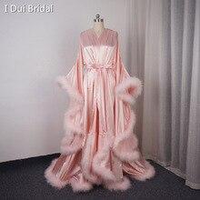 Bata de satén Marabou de manga larga, vestido de baile de máscaras de noche, regalo de boda, pijama Boudoir