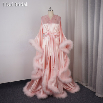 Satin Marabou Robe Long Sleeve Night Robe Masquerade Dance Dress Homecoming Dress Wedding Gift Boudoir Robe