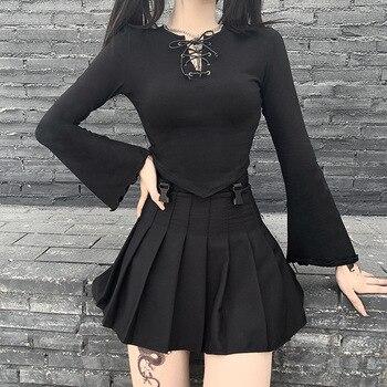 GothGirl street fashion umbilical eyelet lace-up long-sleeved t-shirt female ins wild irregular hem top grey flap over detail off shoulder irregular hem t shirt