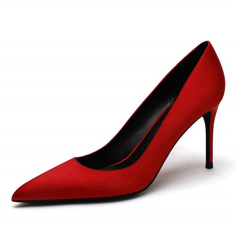 Women Red Wedding Office High Heels Silk Pumps Lady Pointed Toe Female Bridal Shoes Big Size 34-41 8CM Thin Heel A0020