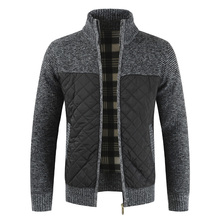 Dropshipping 2019 Autumn Winter Sweater Men Solid Patchwork Thick Fleece Cardigan Men Casual Stand Color Sweater Men CoatsCardigans