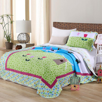 1Pc Bed Cover+1Pc Pillowcase Green Peach Heart Bedding Set A Rose Bedspread Cotton Quilt Green Mood Quilting Blanket Single Bed фото