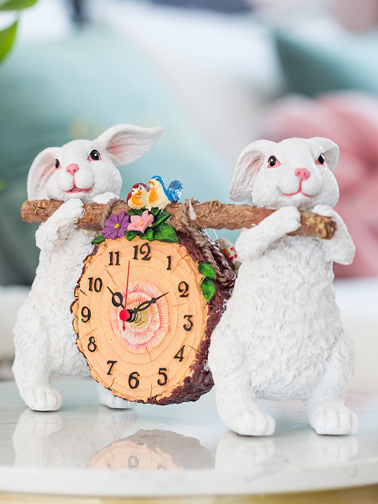 Home Decoration Accessories For Living Room Clocks Watch Clock Lovely Rabbit Ornaments Silent Ornaments Home Decoration Modern