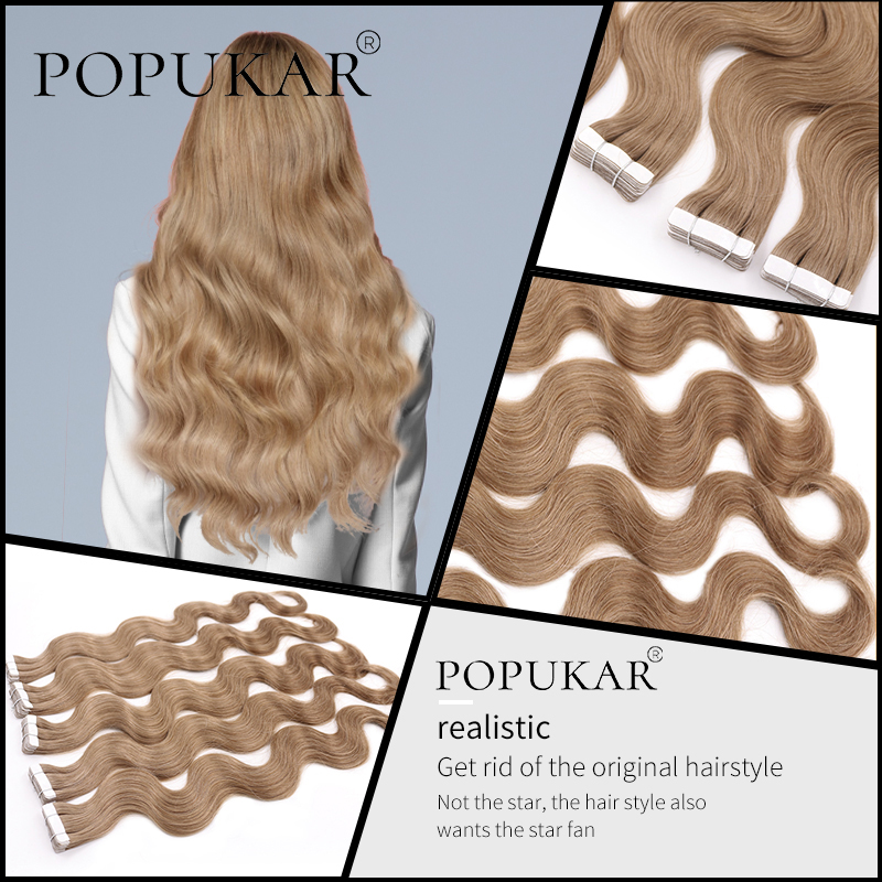 Popukar 2g/piece Body Wave Virgin Hair Walnut Brown 18# 100% European Human Hair Real Virgin Tape in Hair Extensions