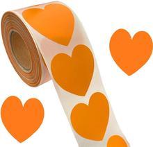 Оранжевый сердце наклейки День святого Валентина скрапбукинг Крафт 2 дюйма 500 клей