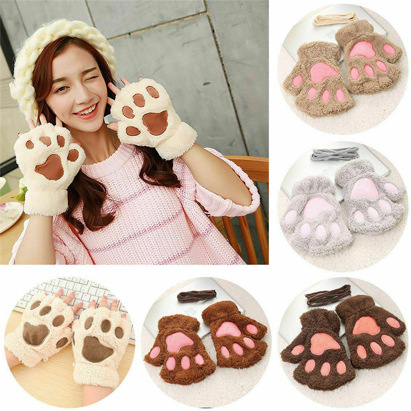 Cartoon Bear Lovely Gloves New Women Bear Cat Claw Paw Mitten Plush Glove Costume Warm Winter Half Finger