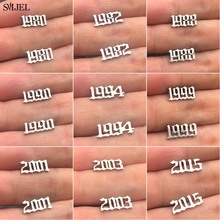 SMJEL Small Year Number Stud Earrings Women Fashion Stainless Steel Earings Custom 1989 2011 Birthday Gift 1980 to 2019