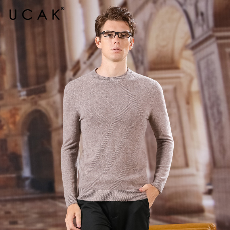 UCAK Brand Sweaters Men 100% Merino Wool O-Neck Srtriped Casual NEW Fashion Style Streetwear Spring Autumn Men Sweater U3155