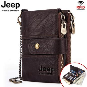 100% Genuine Leather Rfid Wallet Men Crazy Horse Wallets Coin Purse Short Male Money Bag Mini Walet High Quality Boys 1