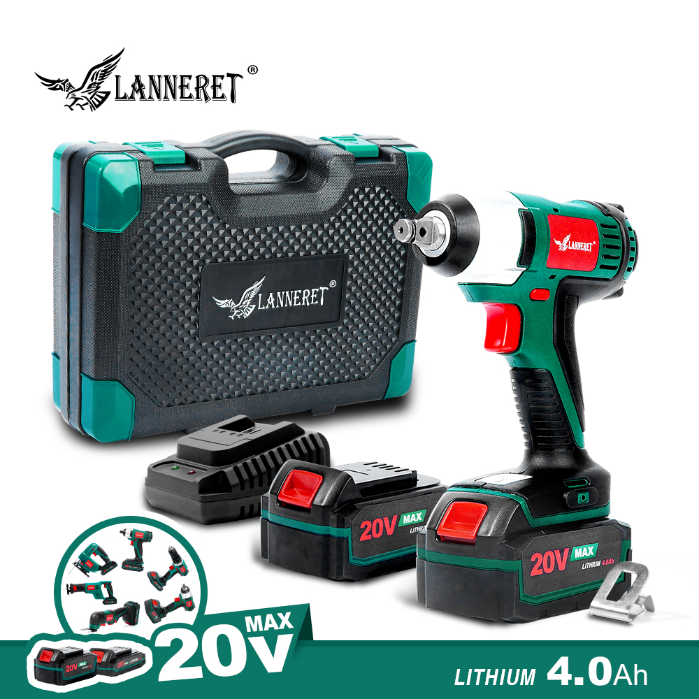 LANNERET Cordless Electric Wrench 20V Impact Wrench 150N.m 1/2