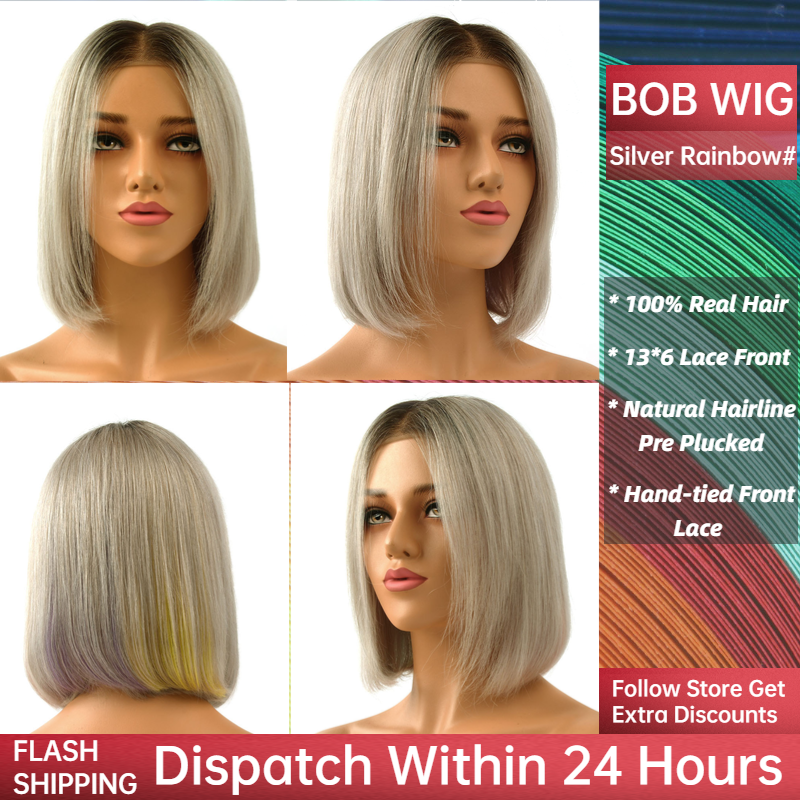 """Neitsi Pre Plucked Remy Human Hair Wigs Natural Hairline Handtied Half Lace Short Bob Wig 10"""" 150%Denisty 130g/pc Silver Rainbow"""