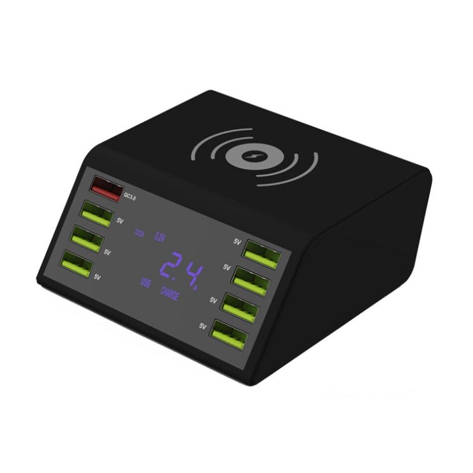 LCD Display Digital Porta USB Doca de Carregamento do Carregador Rápido 8 QC 3.0 com 10W Carregador Sem Fio Para iPhone 5 7 6 8 X