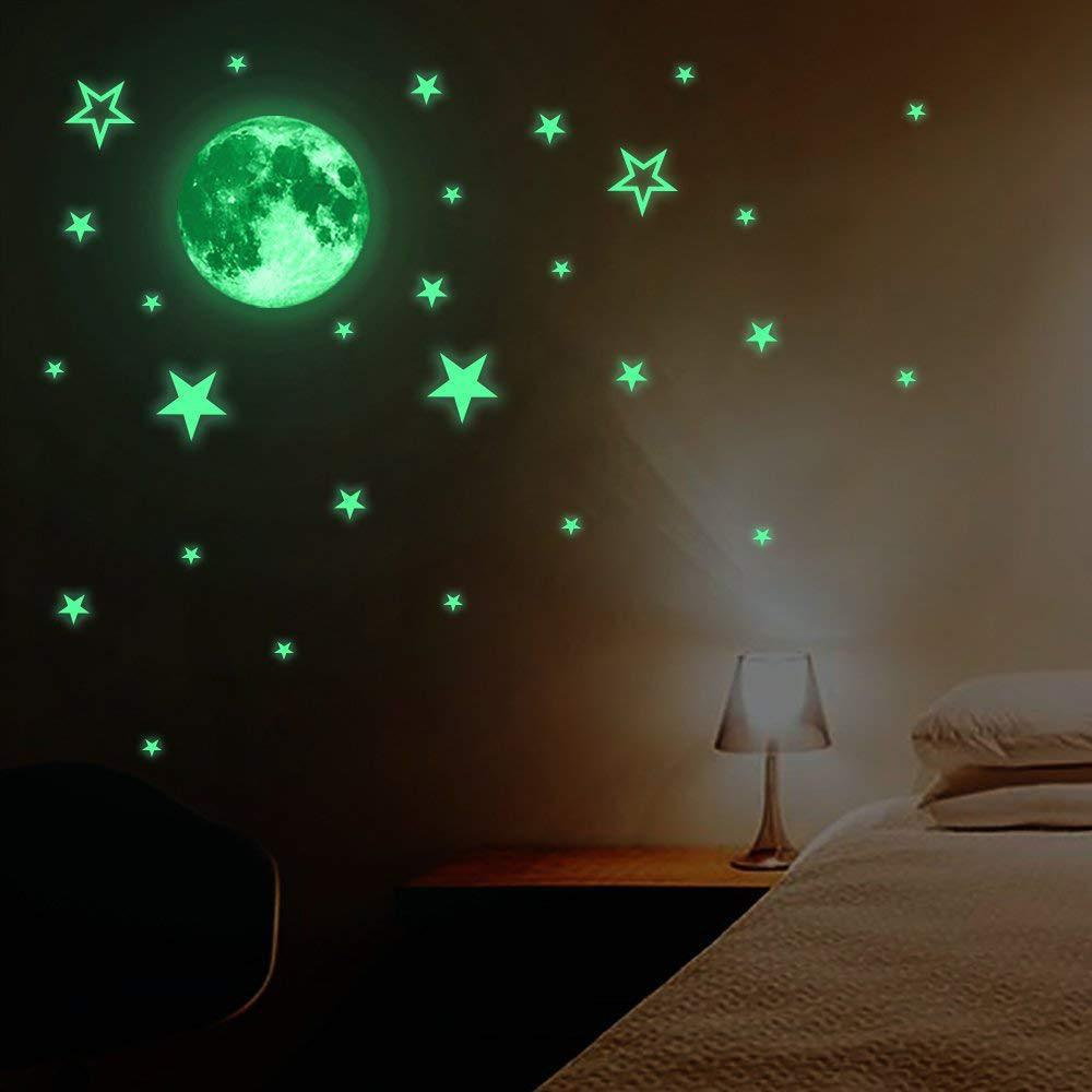 Luminous Moon Stars Combination 3D Wall Sticker Bedroom Living Room Home Decoration Kids Room Decals Glow In The Dark Stickers