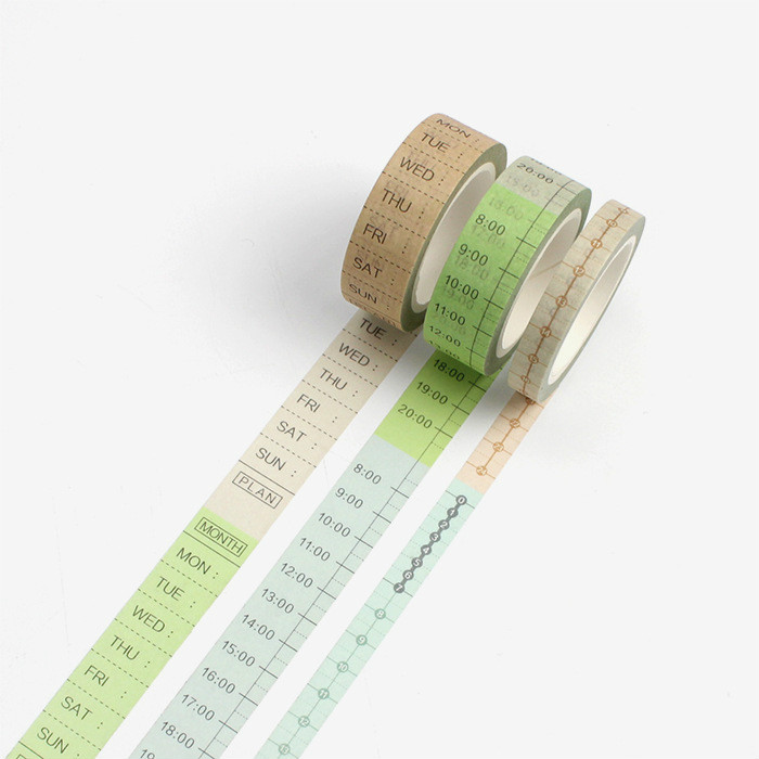 3pc Schedule Planner Scrapbooking Washi Tapes Set Journal Decorative Japanese Masking Tape Stationery Supply Washitapes Pack