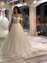 Белое Кружевное бальное платье с аппликацией дешевые свадебные