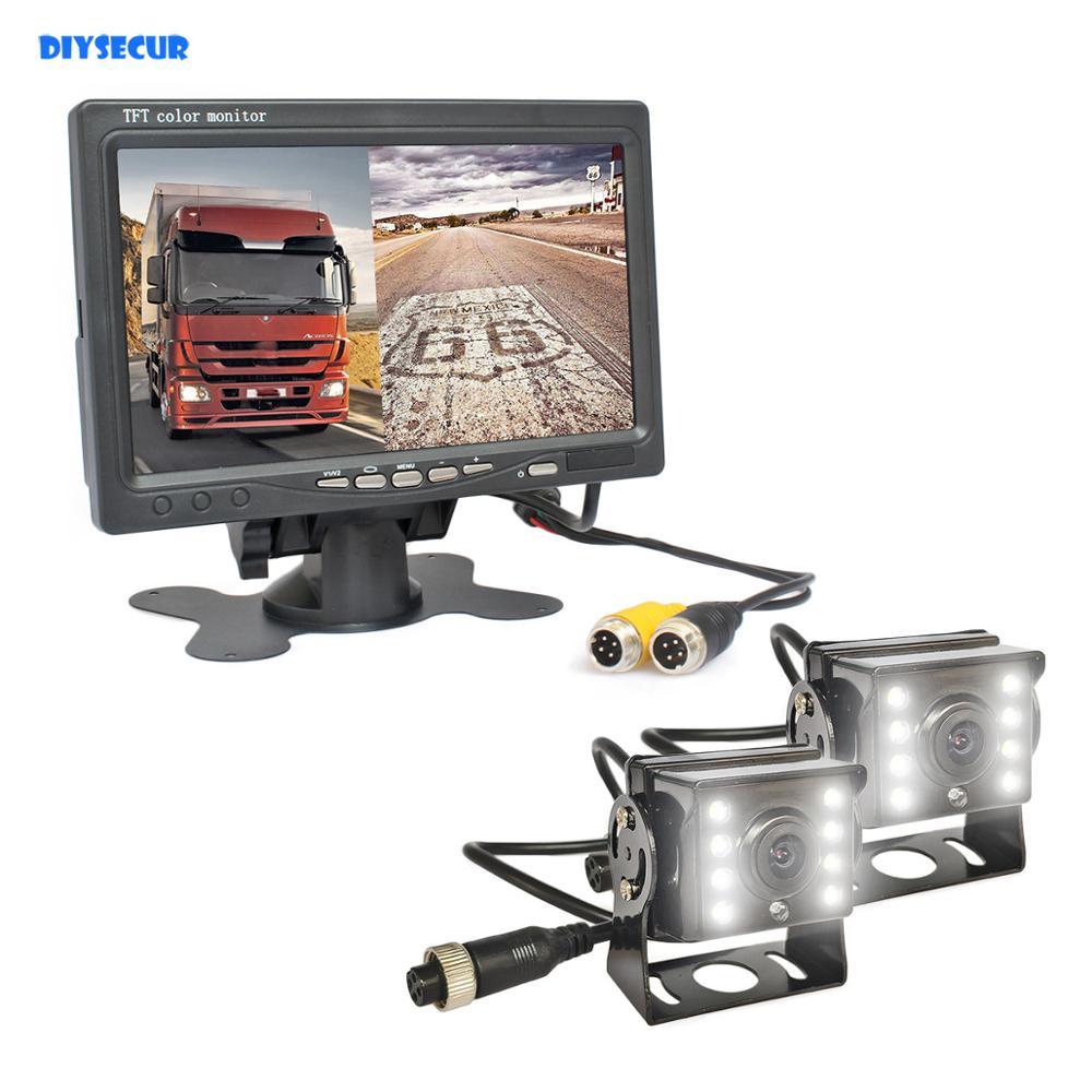 """24V Reversing Kit 7/"""" LCD Monitor 2 CCD IR Cameras Wireless Horse Trailer Van RV"""