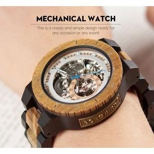 Image 3 - בובו ציפור אוטומטי שעון גברים reloj hombre עץ שעוני יד מכאני שעון Relogio Masculino סופר גדול גודל בקופסא עץ