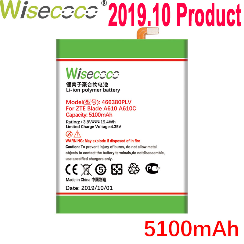 WISECOCO <font><b>5100mAh</b></font> 466380PLV 466380PVL Battery For ZTE BLADE A610 A610C A610T BA610C BA610T Mobile Phone Latest Production Battery image